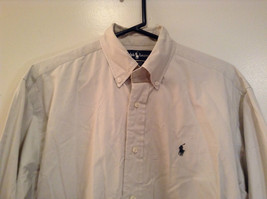 Light Gray 100 Percent Cotton Long Sleeve Ralph Lauren Shirt Size M Button Up image 3