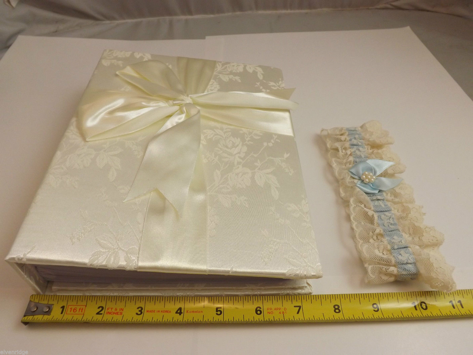 Ivory Bridal Photo Album and Bridal Garter Belt
