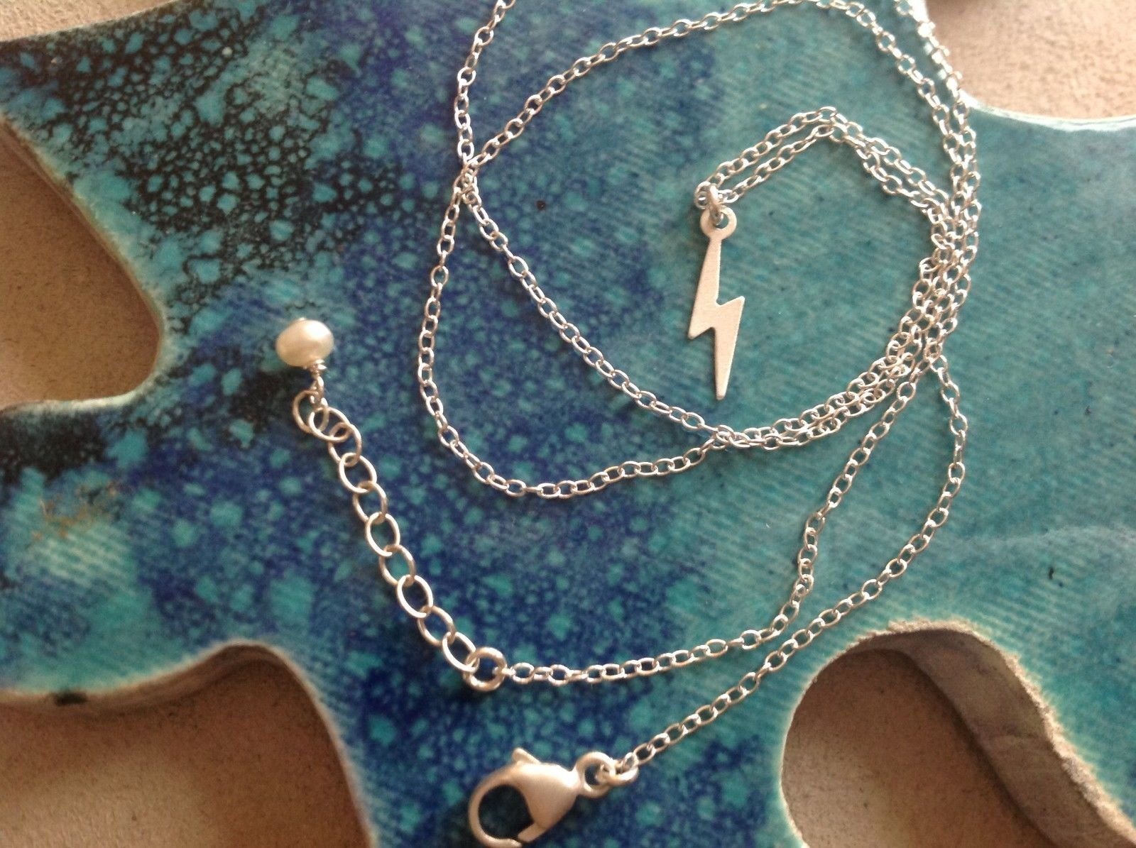 Itty bitty lightening bolt Silver Chain Necklace Zina Kao Pearl accent USA made