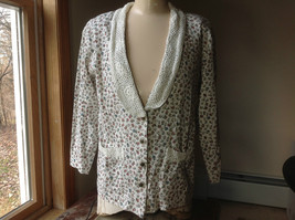 Ivy White Floral cardigan shoulder pads 3/4 length sleeve size small