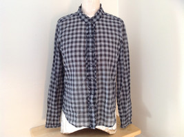J. Crew Black White Plaid Button Up Long Sleeve Shirt Button at Cuffs Size Small