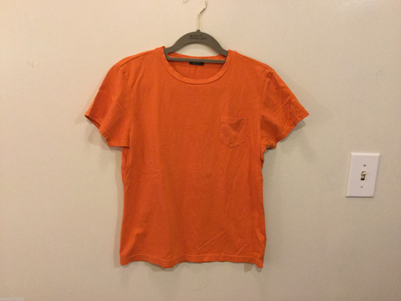 J.Crew Bright Orange T-Shirt Top with one pocket, NO Size tag (see measures)