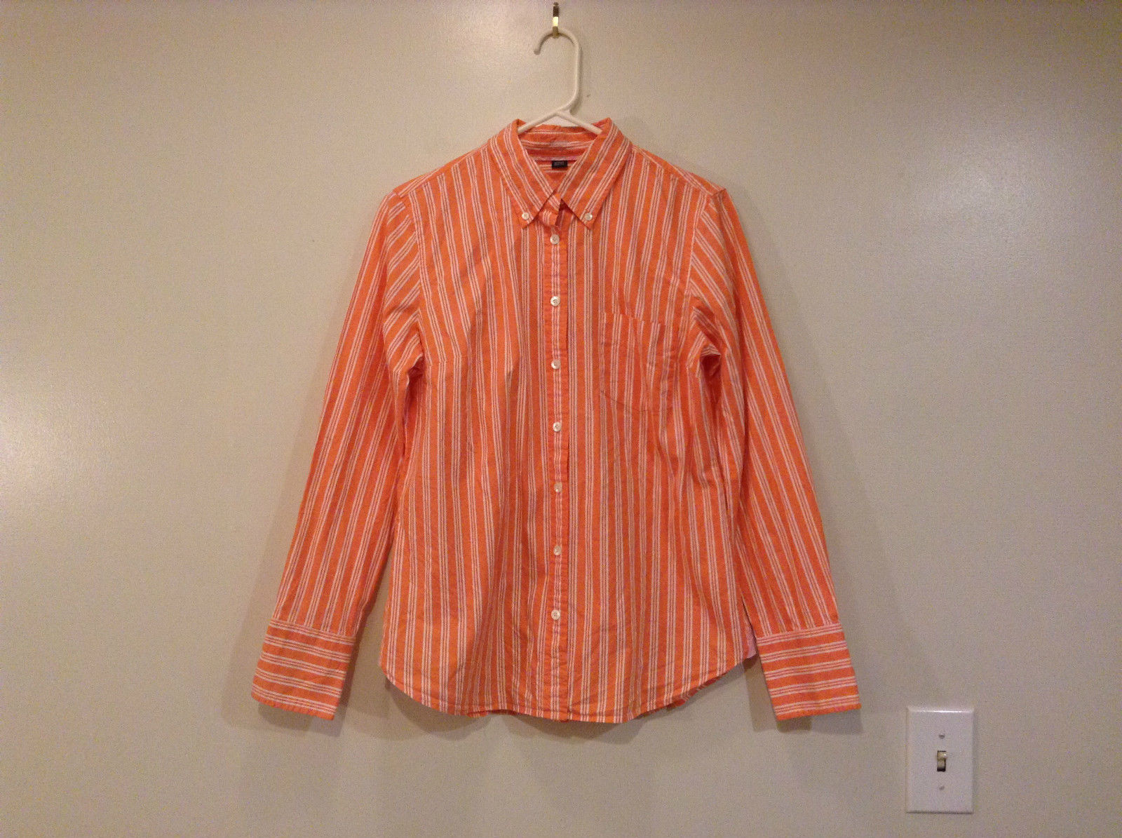 J. Crew Classic Orange and Pink with White Stripes Button Front Shirt Size M