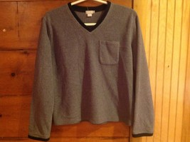 J Crew Gray Long Sleeve V Neck Size Small Black Accent Front Chest Pocket