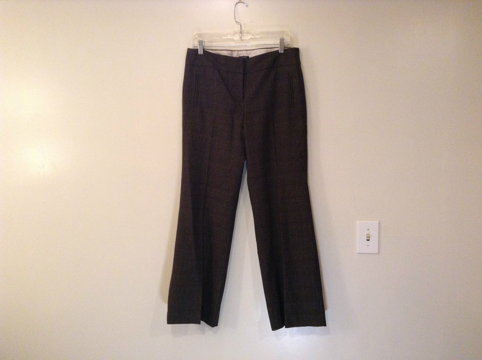 J Crew Size 10 Fully Lined Dark Gray Plaid Pattern Dress Pants Good Condition