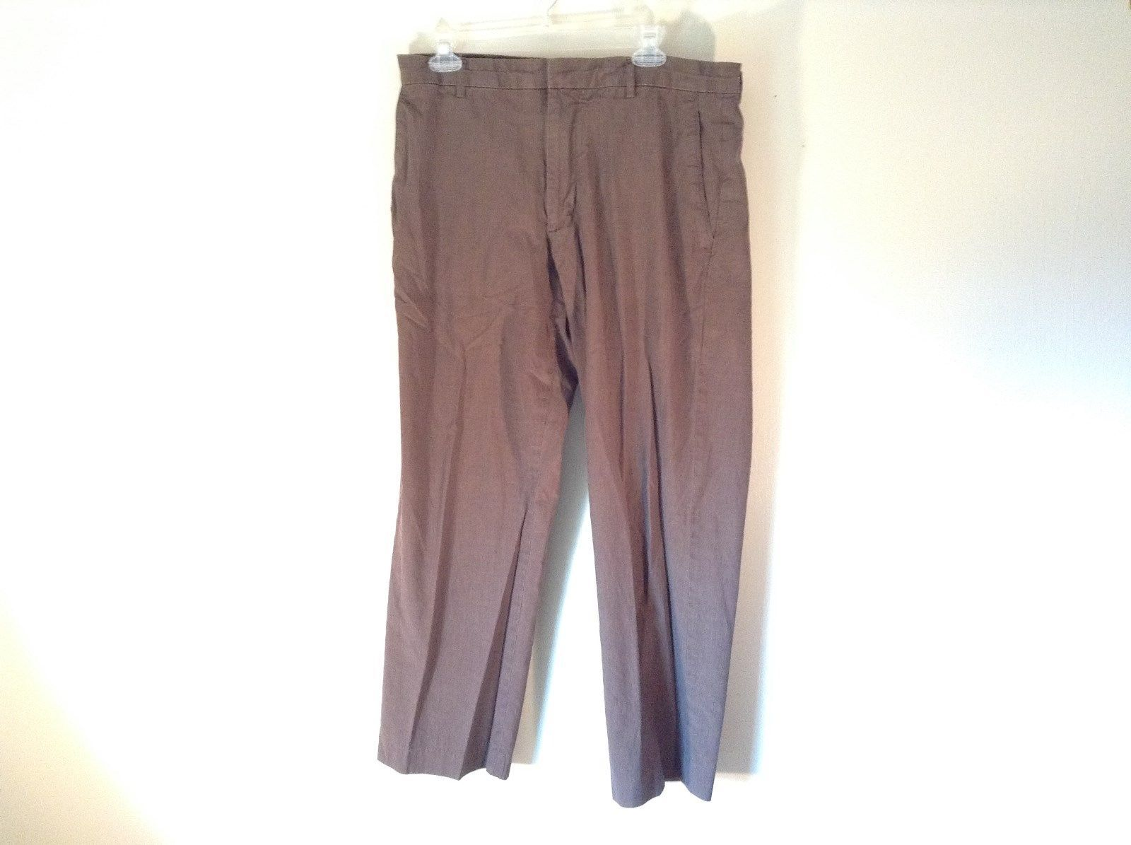 J Crew Size 36 by 30 Brown Herring Bone Dress Pants Wool Blend Made in Hungary