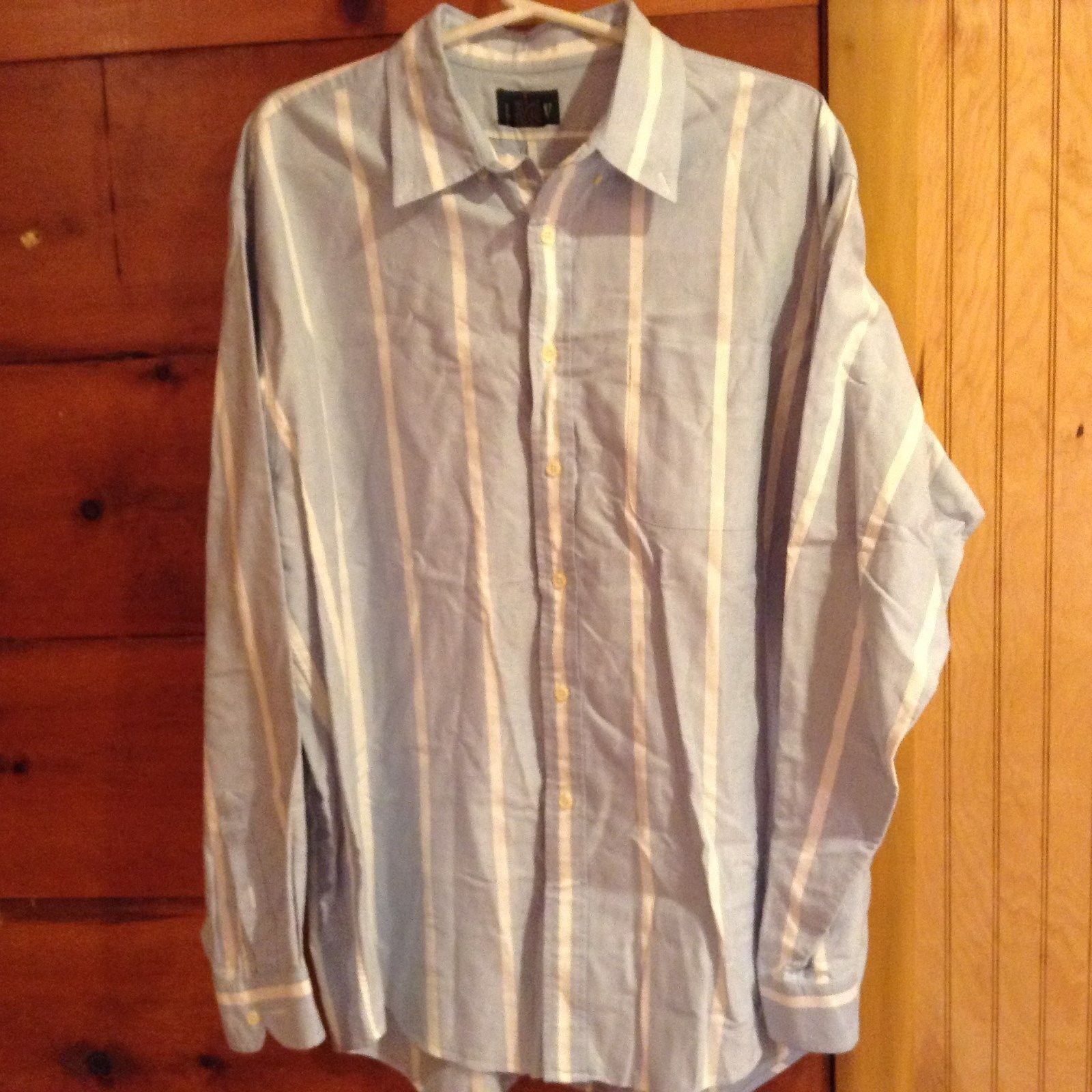 J Crew Button Down Long Sleeve Collared Blue and White Striped Shirt Size XL