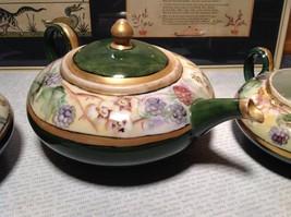 Limoges France Handmade Vintage Tea Set Teapot Creamer Sugar Green Floral Design image 3