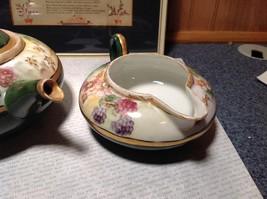 Limoges France Handmade Vintage Tea Set Teapot Creamer Sugar Green Floral Design image 4