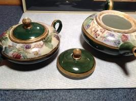 Limoges France Handmade Vintage Tea Set Teapot Creamer Sugar Green Floral Design image 7