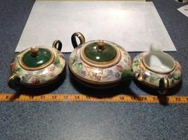 Limoges France Handmade Vintage Tea Set Teapot Creamer Sugar Green Floral Design image 8