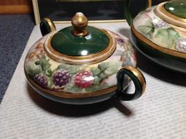 Limoges France Handmade Vintage Tea Set Teapot Creamer Sugar Green Floral Design image 2