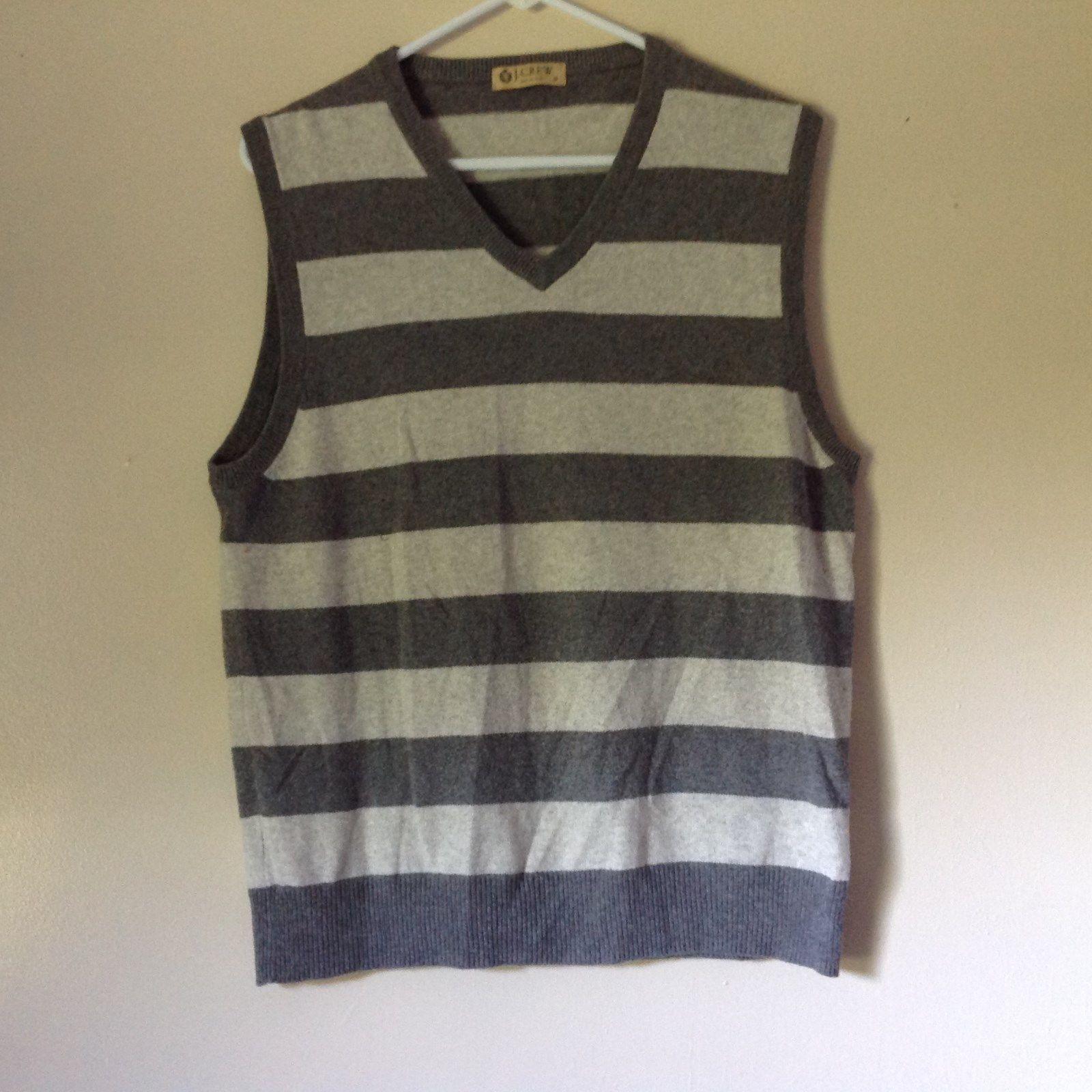 J Crew Size Medium Soft Gray Striped V Neck Vest