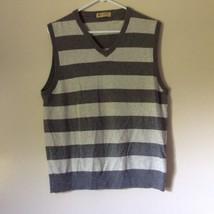 J Crew Size Medium Soft Gray Striped V Neck Vest image 1