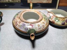 Limoges France Handmade Vintage Tea Set Teapot Creamer Sugar Green Floral Design image 6