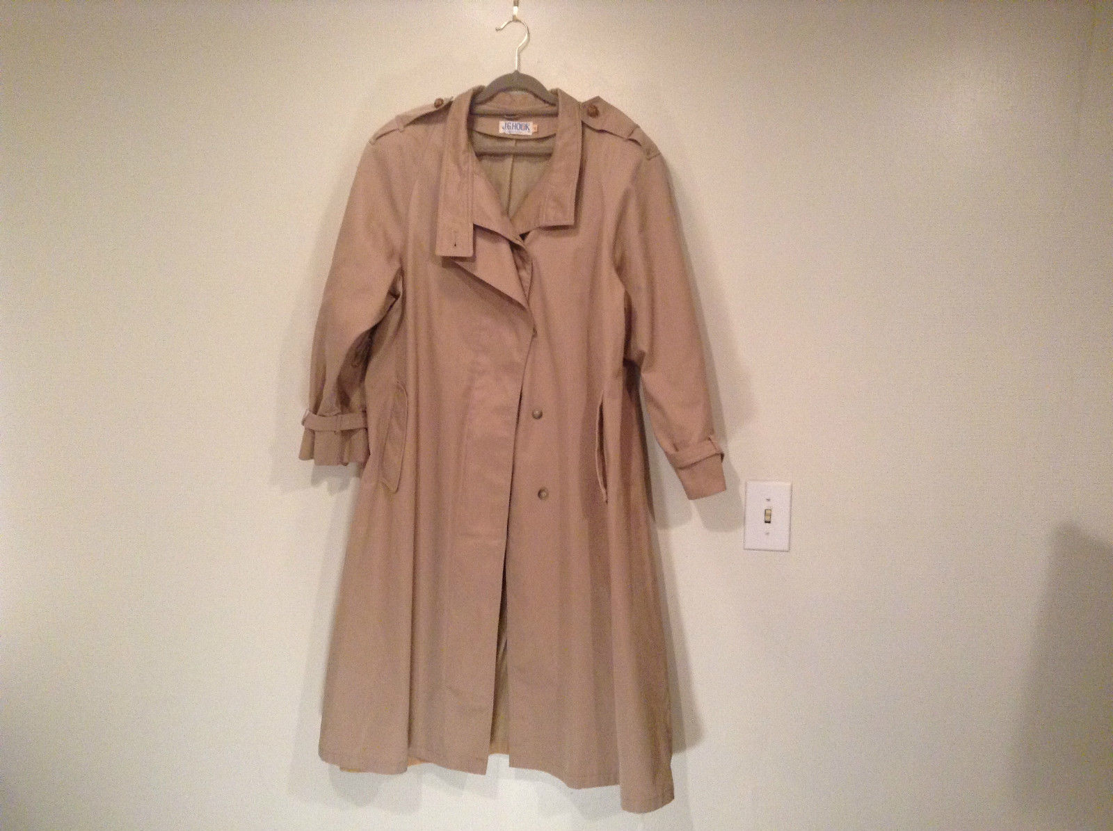 J G Hook Long Tan Trench Coat Size 16 Hidden Button Front Closure
