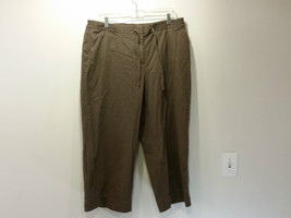 J Jill Size 16 Brown Cotton Capri Pants Tie at Waist Front and Back Pockets