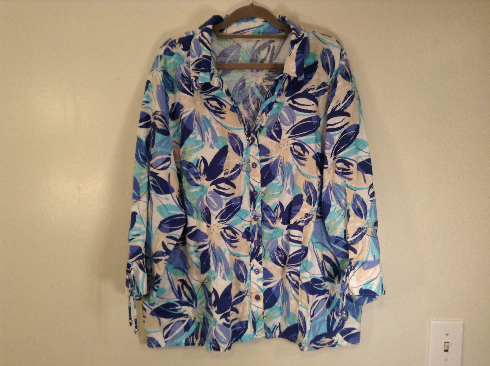 J M Collection Blue Floral Linen Button Up Blouse Size 22W