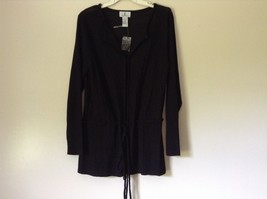 J L Studio Black Cardigan Two Piece Black Belt Long Sleeve Measurements Below