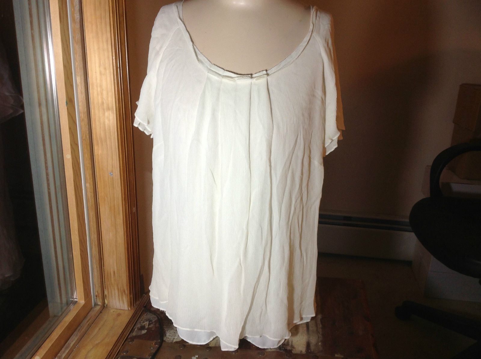 J.Jill off white flowy short sleeve shirt size 1X