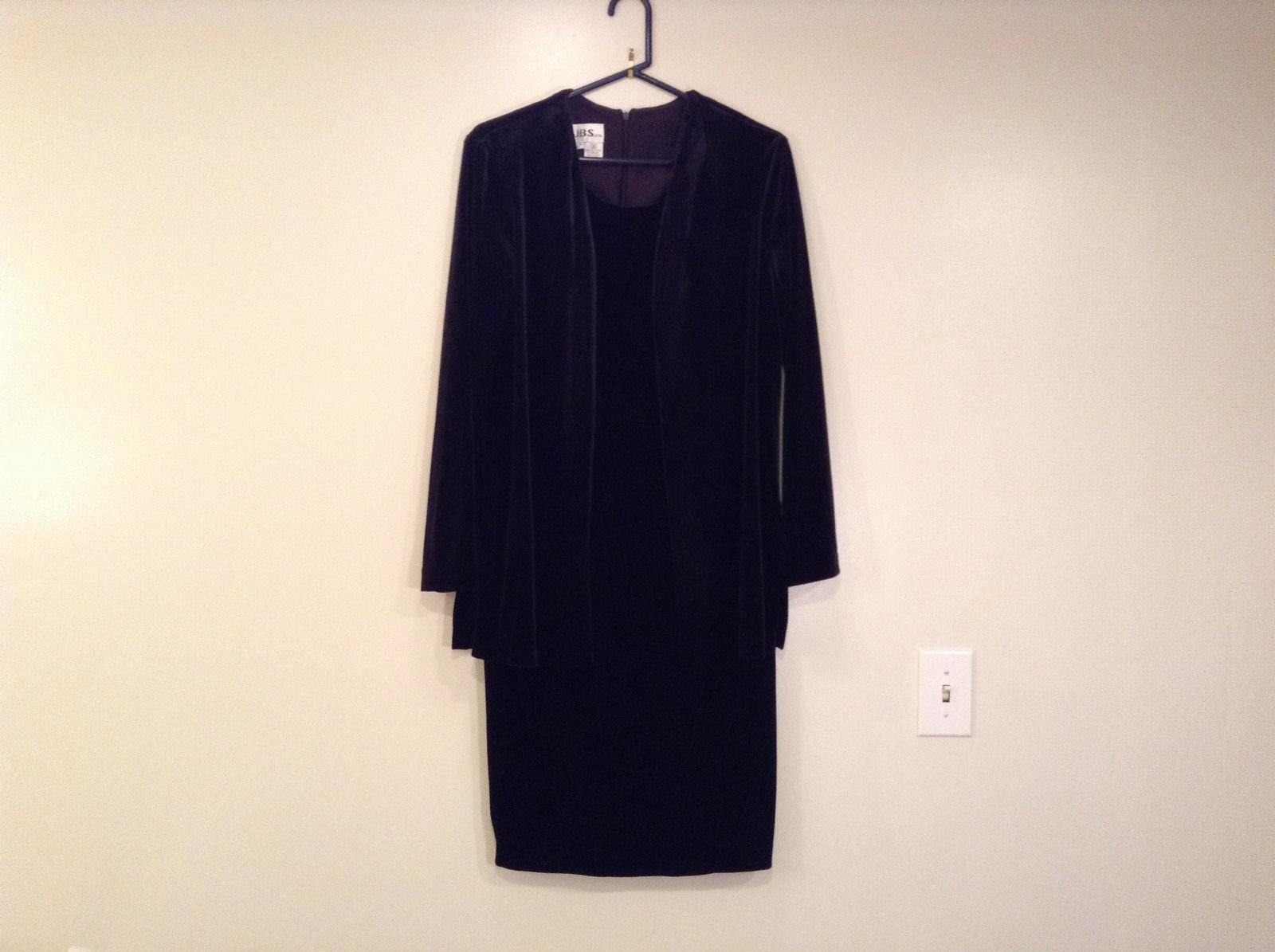 JBS Size 10 Black Velvet Dress and Attached Jacket Back Zipper Closure Very Nice