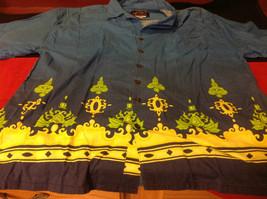 Hawaiian Mens Short Sleeved Shirt Blue Green Yellow Size Large image 2