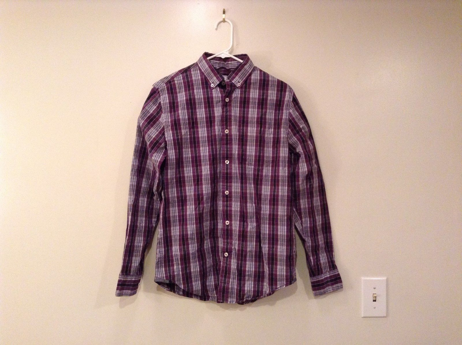 JCP 80s Size Small Long Sleeve Button Up Shirt Violet Navy Blue White Stripes