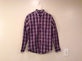 JCP 80s Violet Navy Blue White Stripes Plaid Pattern Button Up Shirt Size Small