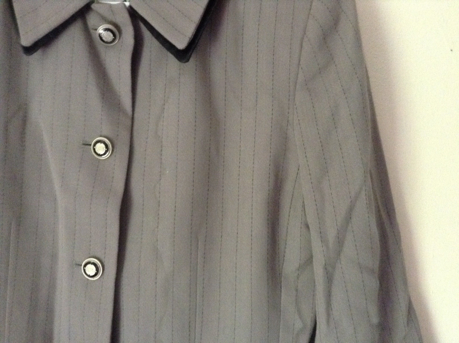 Jacket and Pant Suit by Kasper Grayish Green Striped Fancy Buttons Size 8P