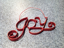 JOY Wall Tree Ornament Red Glittery with Hanger Approximately 5 Inches