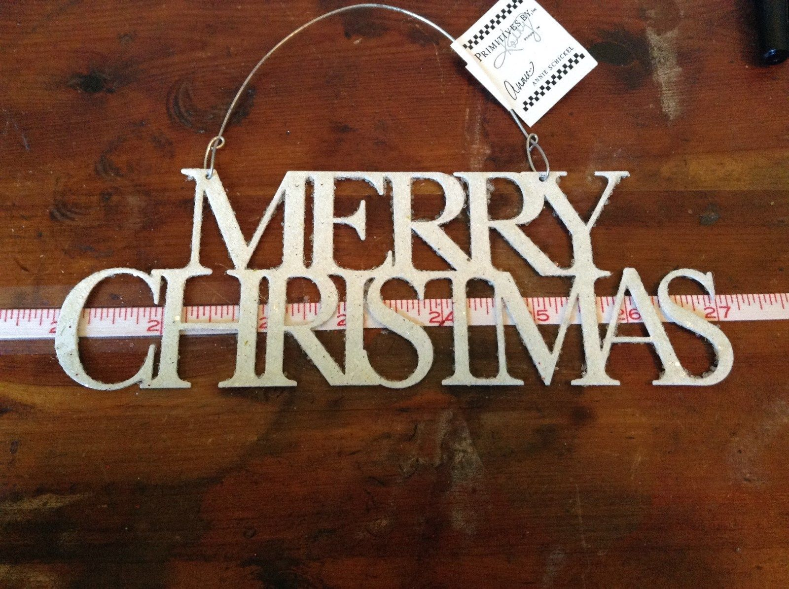 Merry Christmas White Glittered Ornament Primitives by Kathy Wire for Hanging
