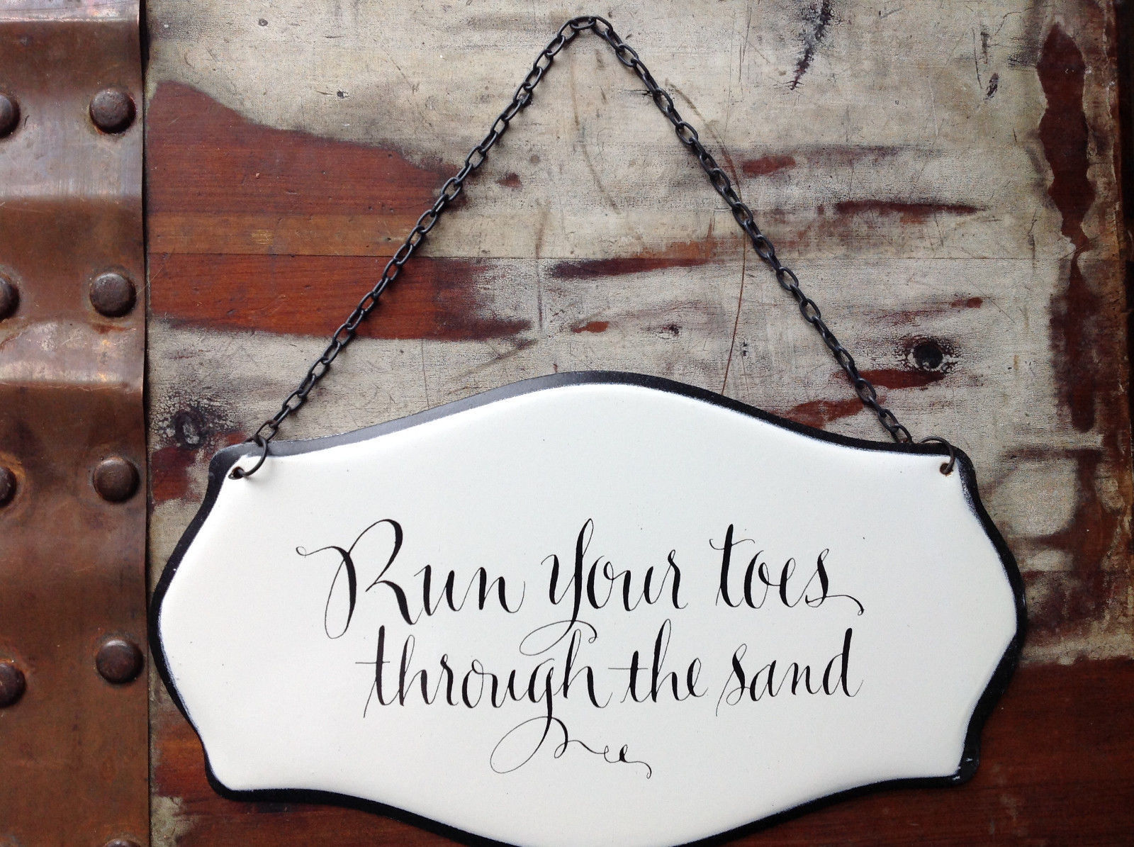 Metal Black and White Vintage Style Sign Run Your Toes Through the Sand