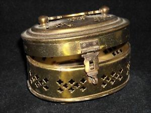 Metal Box with Hinged lid latch handle filigree brass