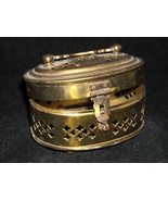 Metal Box with Hinged lid latch handle filigree brass - $39.99