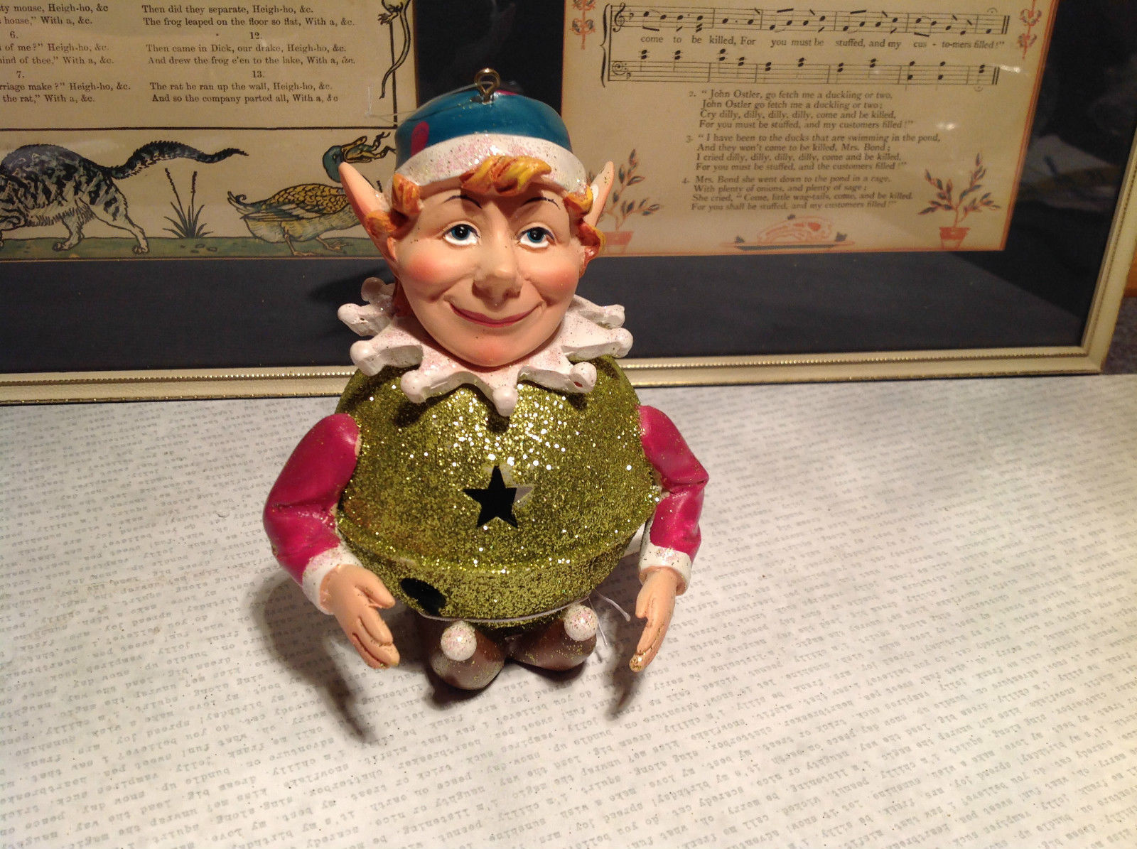 Metal and Resin Elf Ornament Figurine Glitter Orb Height 5 Inches