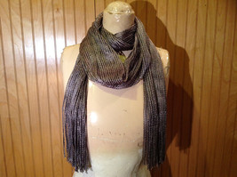Metallic Silver Shiny Tasseled Fashion Scarf Sheer Light Weight Material No Tag