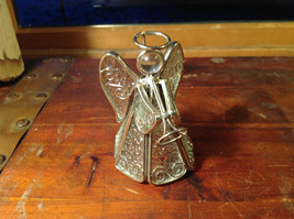 Metal and Glass Trumpet Angel Figurine Ornament Height 4 inches
