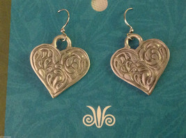 Heart earrings pewter with sterling silver ear wires Cynthia Webb image 5