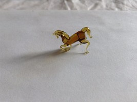 Micro Miniature hand blown glass made USA NIB Brown Horse kneeling or rearing