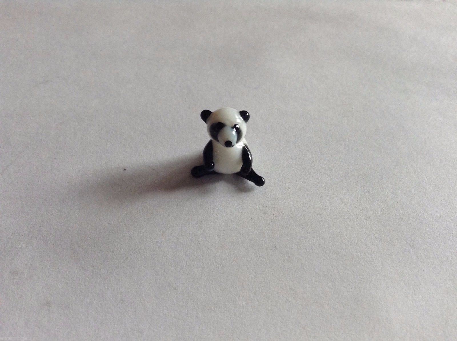 Micro Miniature hand blown glass made USA NIB Sitting Panda Bear