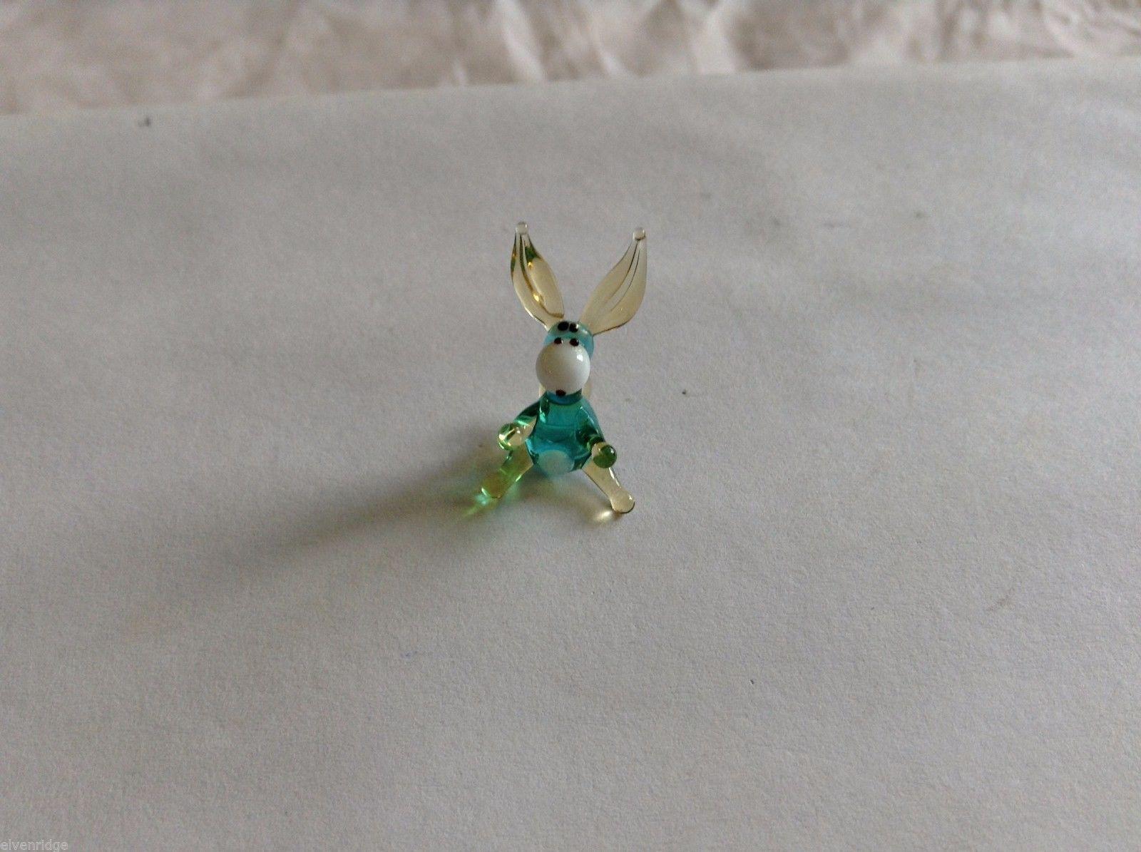 Micro Miniature hand blown glass made USA NIB blue donkey w long erect ears