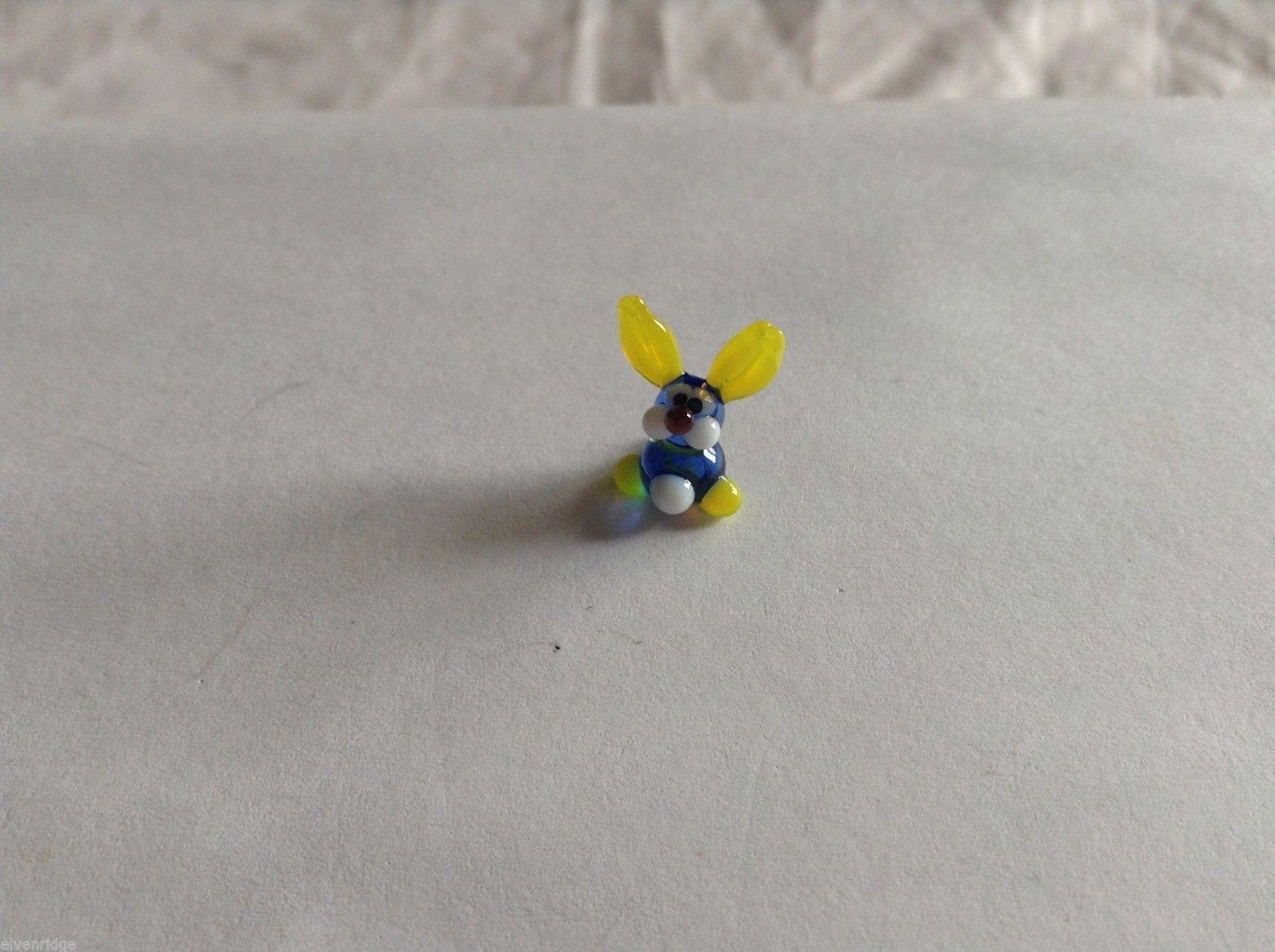 Micro Miniature hand blown glass made USA NIB blue and yellow bunny