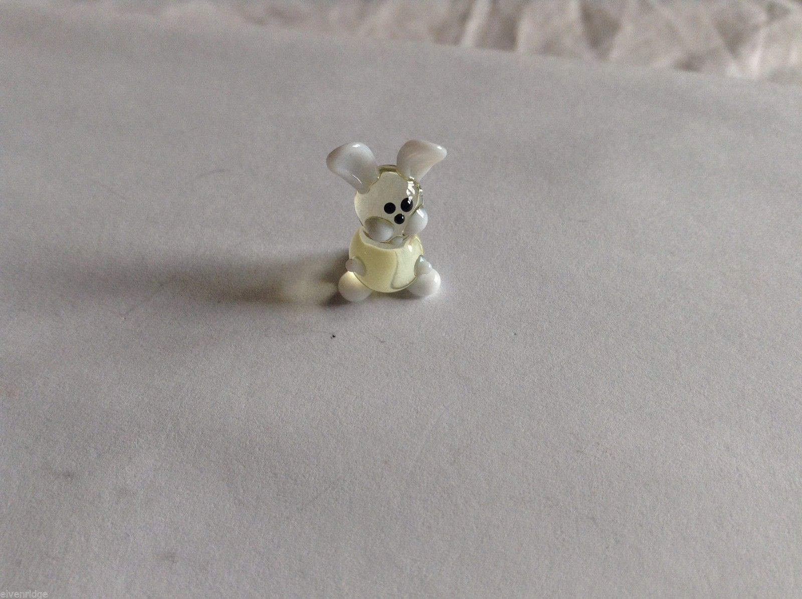 Micro Miniature hand blown glass made USA NIB clear and white bunny
