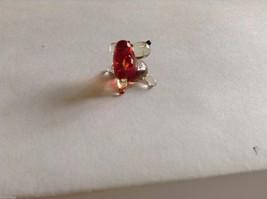 Micro Miniature hand blown glass made USA NIB  red / clear cute face dog image 1
