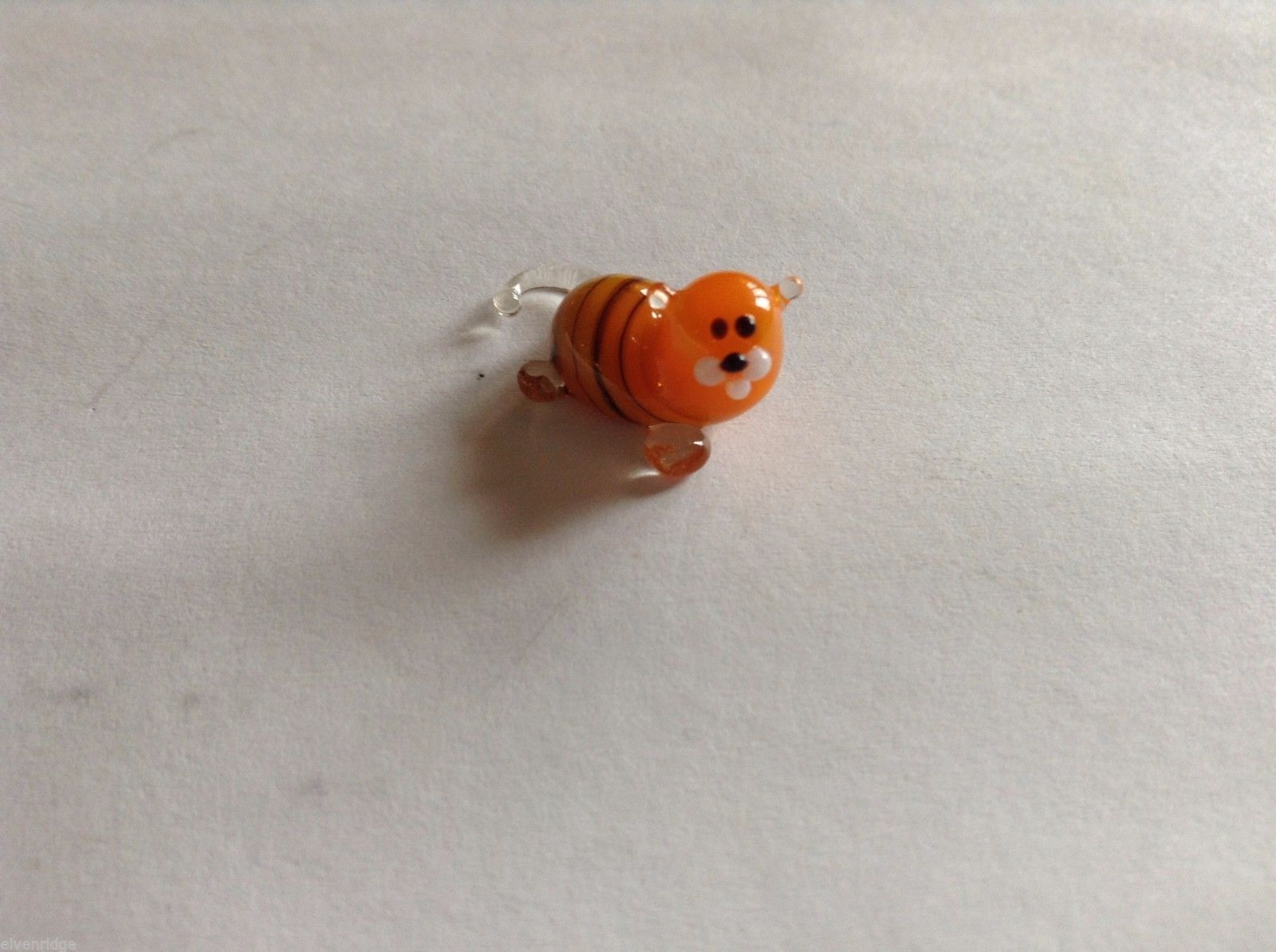 Micro Miniature hand blown glass made USA NIB smaller orange tiger w clear tail