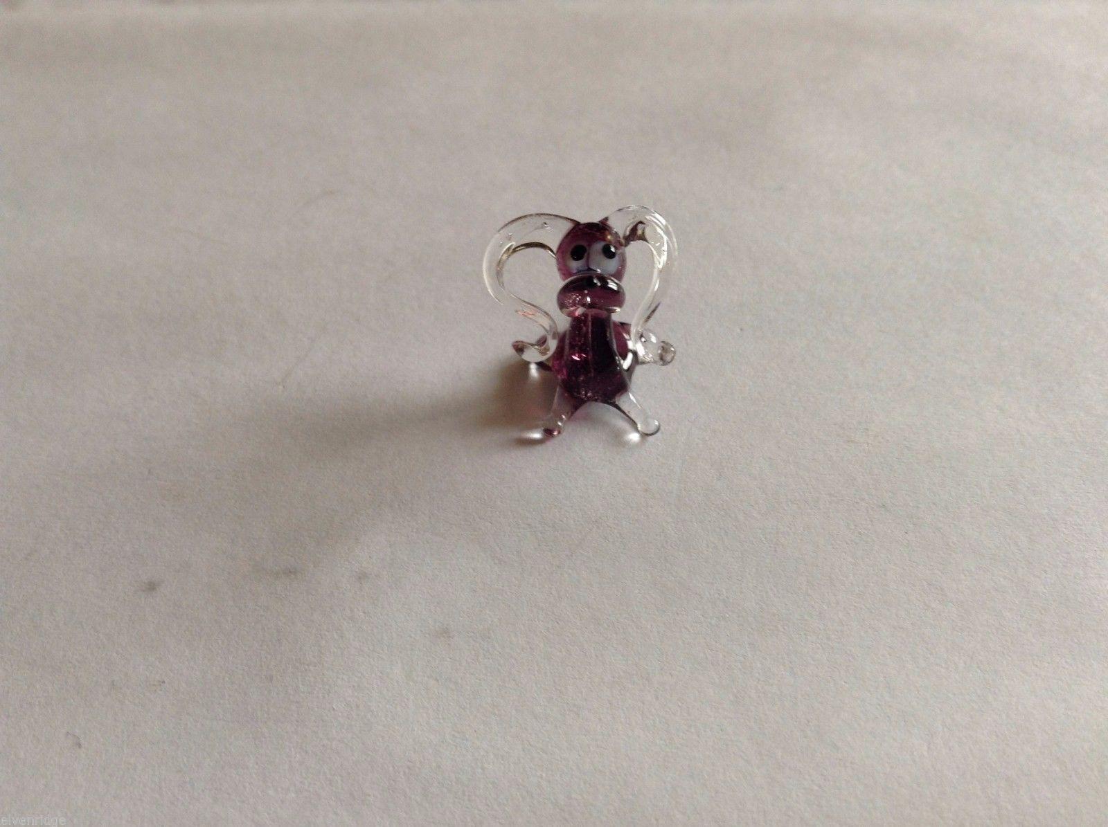 Micro Miniature hand blown glass made USA NIB  silly clear purple dog floppy ear