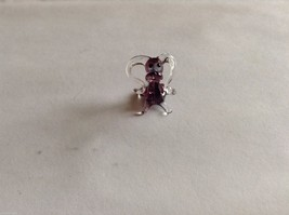 Micro Miniature hand blown glass made USA NIB  silly clear purple dog floppy ear