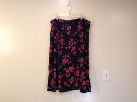 Jaclyn Smith Plus Black with Pink Flowers Skirt Elastic Waist in Back Size 3X