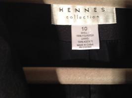 Hennes Collection Black Long Formal Jacket Front Pockets Shoulder Pads Size 10 image 2