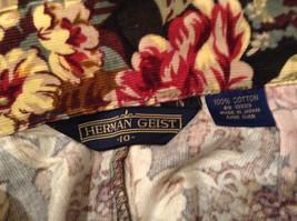 Herman Geist 100 Percent Cotton Size 10 Floral Corduroy Casual Skirt image 8